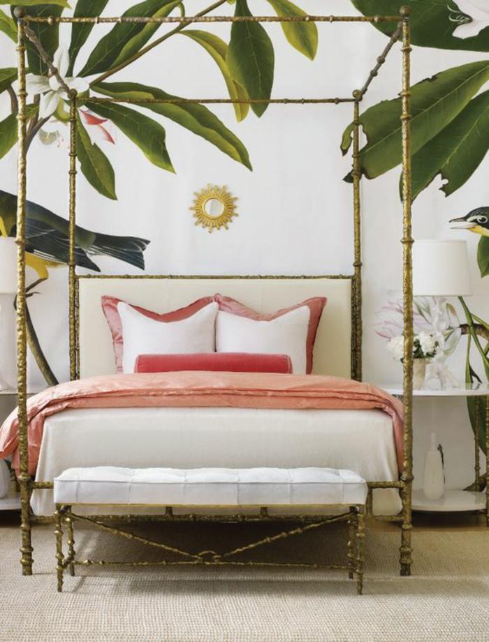 papier-peint-tropical-chambre-à-coucher-moderne-et-exotique