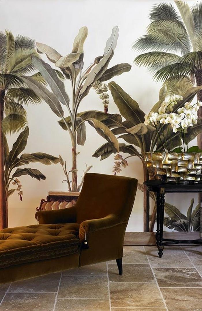 papier-peint-tropical-feuille-de-bananier-canapé-velours-déco-vert-d'olive