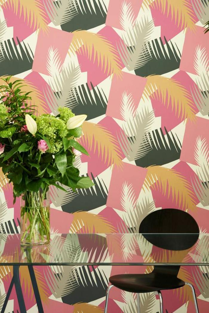 papier-peint-tropical-géométrique-déco-moderne