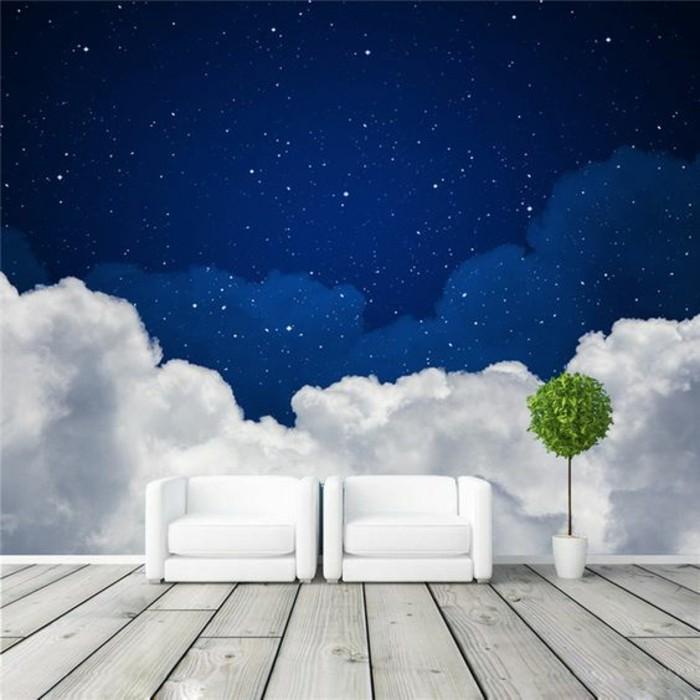 papierpeint-3d-ciel-étoilé-nuages-effet-3d-