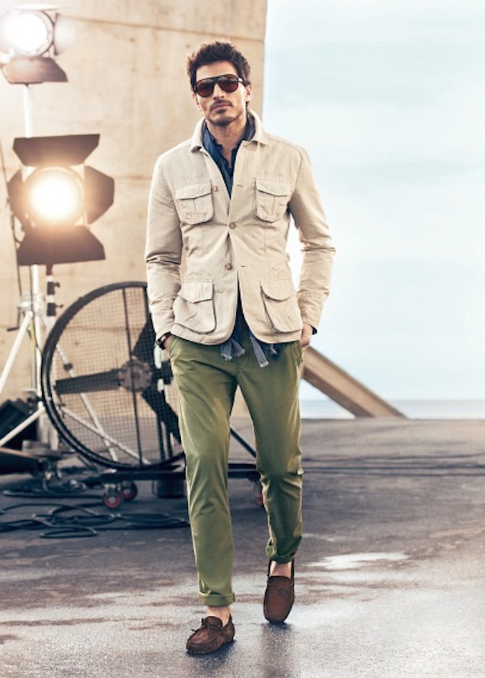 saharienne homme beige style cargo et chino kaki