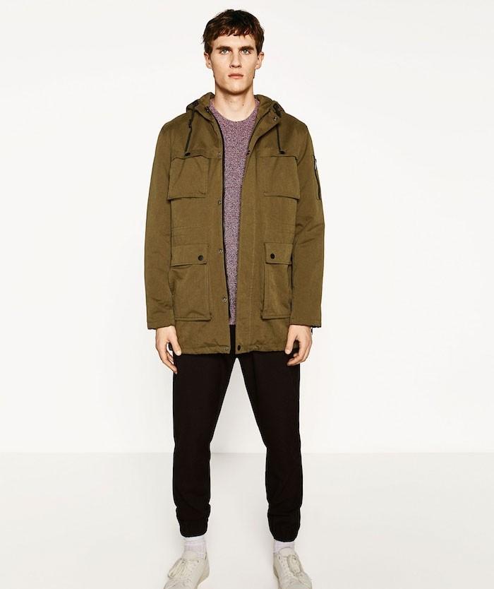 parka homme chaude cargo style veste kaki saharienne