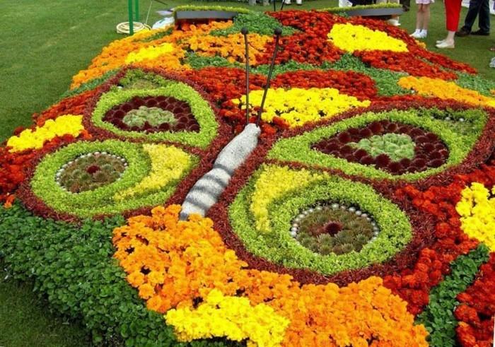 une parterre de fleurs en forme de papillon multicolore. idée comment aménager un jardin de manière esthétique