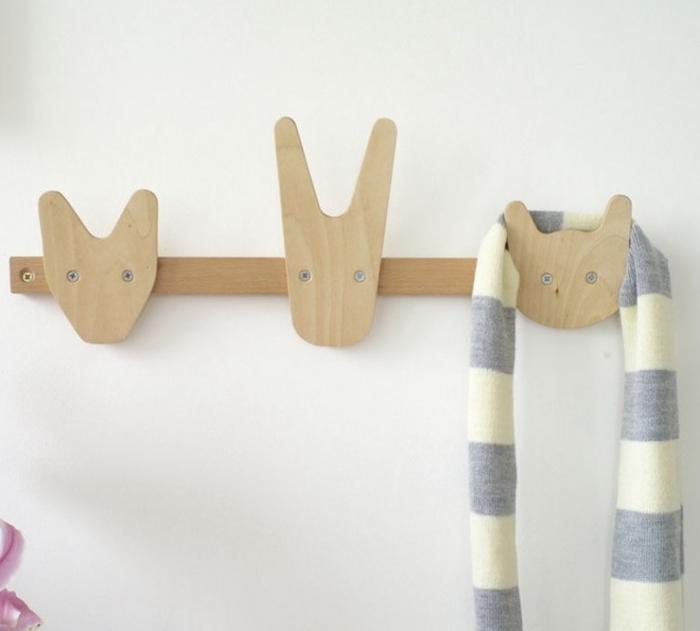 patère porte manteau engant en bois animaux original