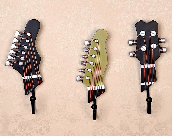 patere murale design style guitare porte manteaux