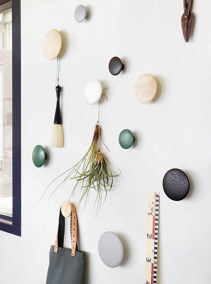 pateres murales design bois petite rond