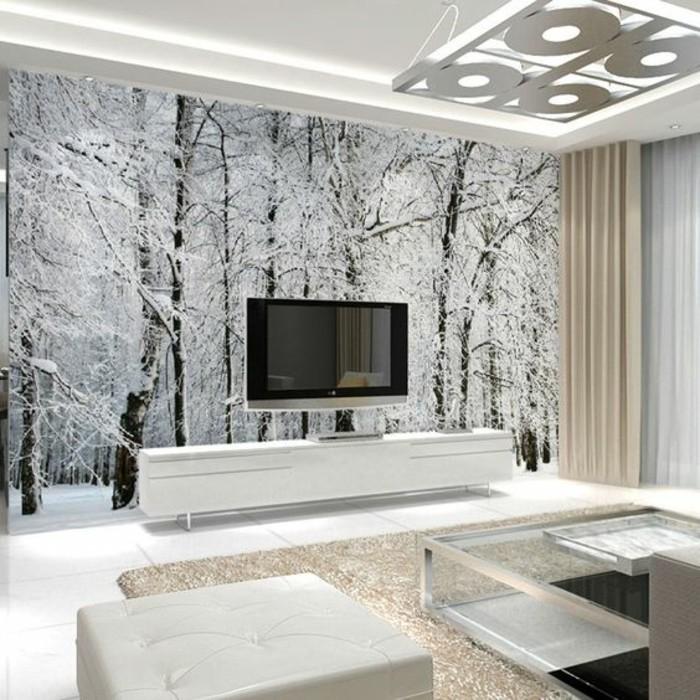 paysage-enneigé-papier-peint-salon-effet-3d