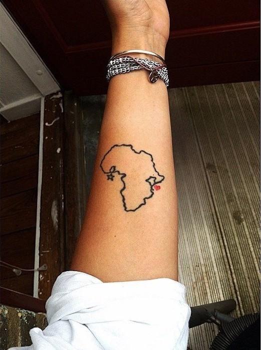 tatouage voyage liberté ou tattoo carte de l'afrique