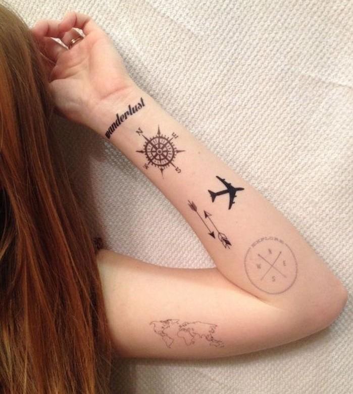 idées de tatouage voyage boussole avion carte du monde tattoo temporaire