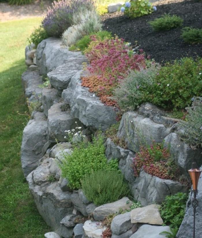 plantes-de-rocaille-arbustes-et-fleurs-idée-amenagement-jardin-a-faire-soi-meme-paysage-naturelle-montagneux