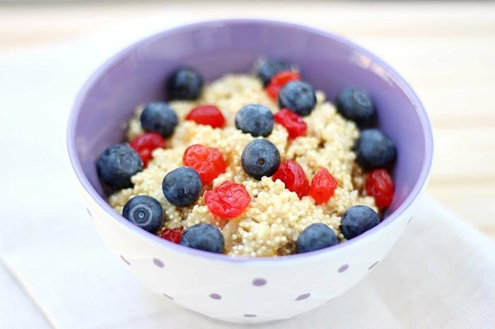 idée comment préparer un porridge sans gluten, quinoa, myrtille, fruits séchés, idée petit déjeuner minceur