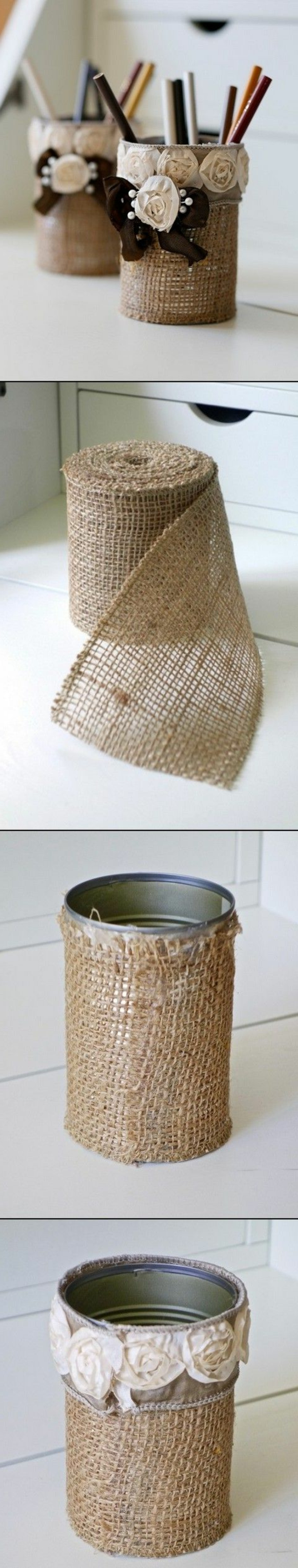pot-a-crayon-shabby-chic-a-fabriquer-soi-meme-idée-comment-customiser-un-pot-a-crayon-décoré-de-fleurs-en-tissu-organisateur-bureau-élégant