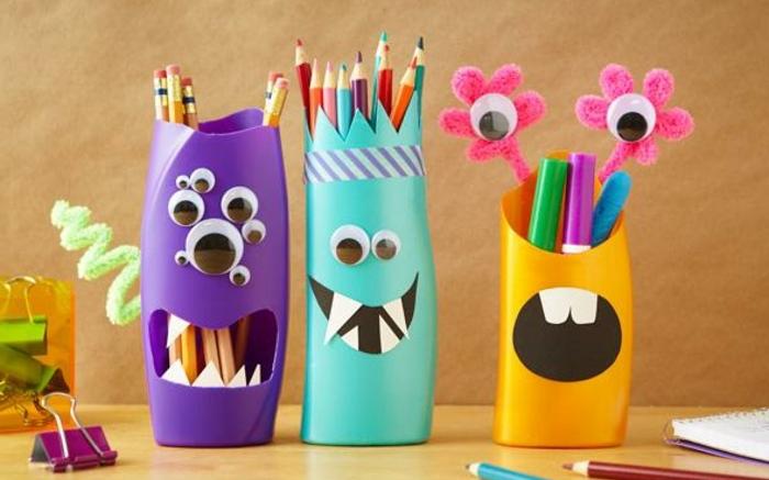 pot-a-crayons-monstres-idée-comment-fabriquer-un-pot-à-crayon-amenagement-bureau-enfant-rangements-colorés