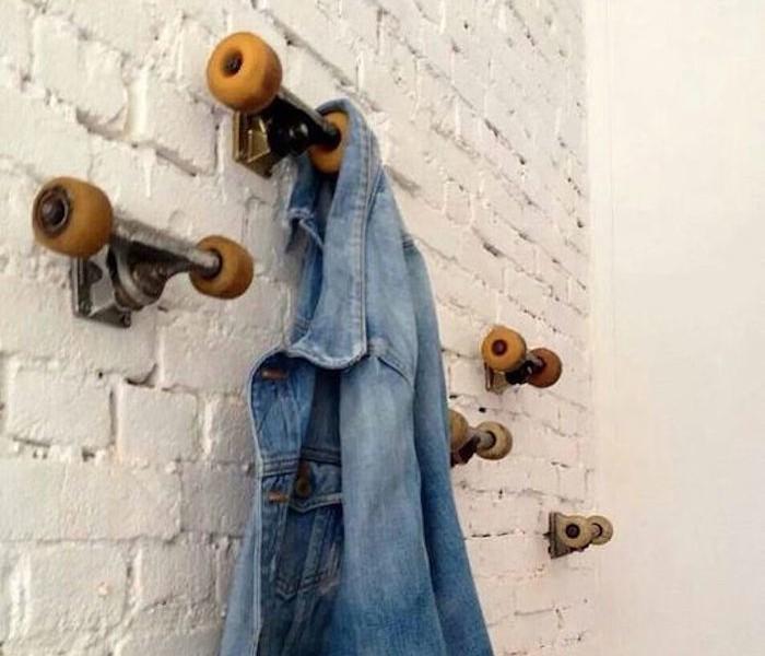 que faire avec roue de skate porte manteau skateboard