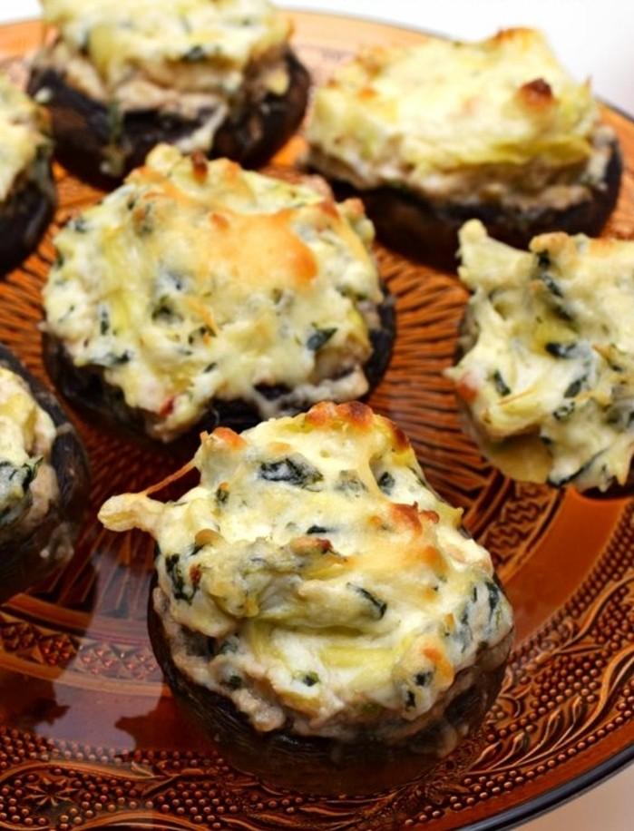 recette-champignons-farcis-aux-épinards-et-parmesan