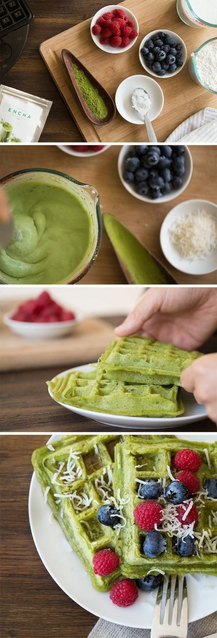 des gaufres moelleuses au thé matcha, recette santé sans gluten