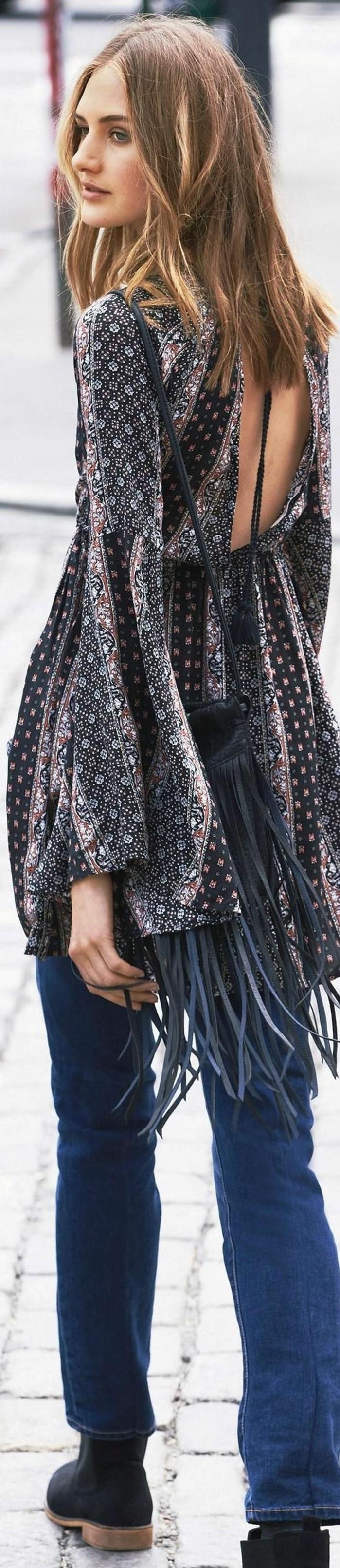 robe boheme chic, longue tunique avec franges