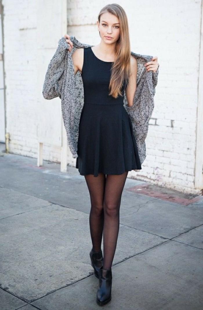 femmes en bottes et jupes, robe noire, gilet gris, collants, cheveux raides