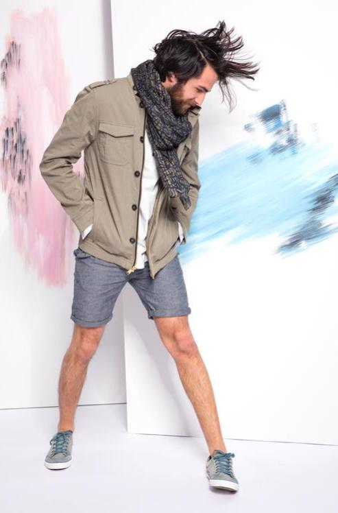 pardessus homme parkas veste cargo beige et short chino en lin
