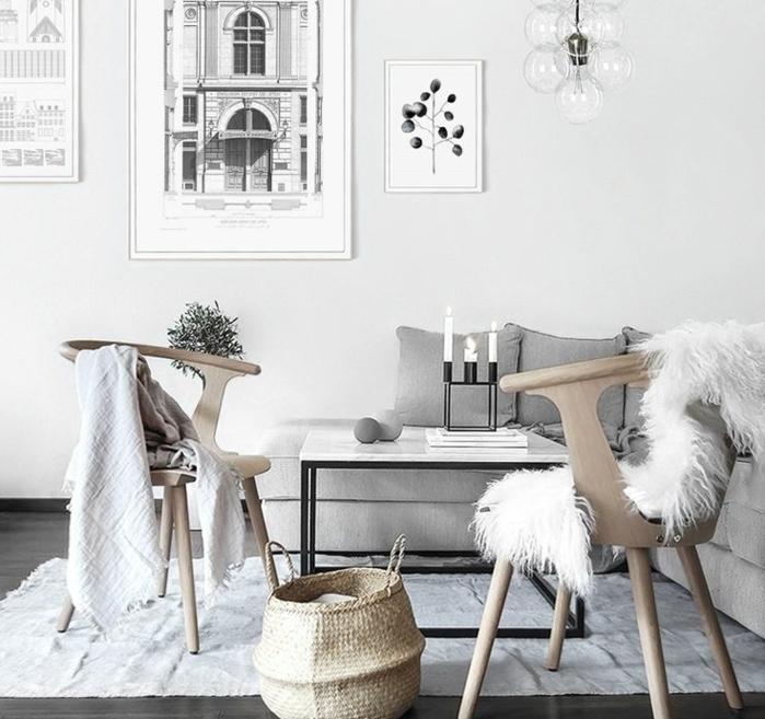 comment décorer son salon, murs blancs, sol gris foncé, peinture blanc et noir, canapé d'angle