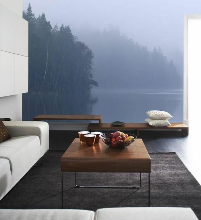 salon-moderne-sophistiqué-tapisserie-murale-paysage-lac