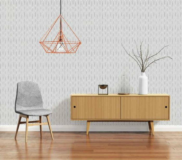 salon-scandinave-papier-peint-géométrique-enfilade-scandinave