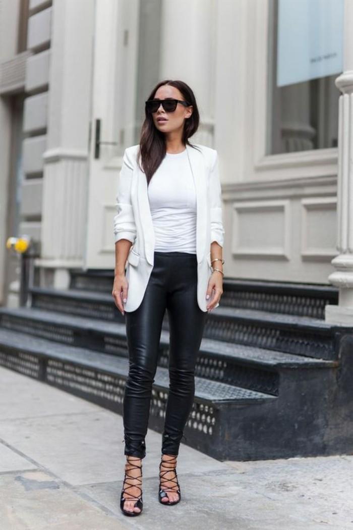 sandales-à-lacets-slim-cuir-veste-blanche