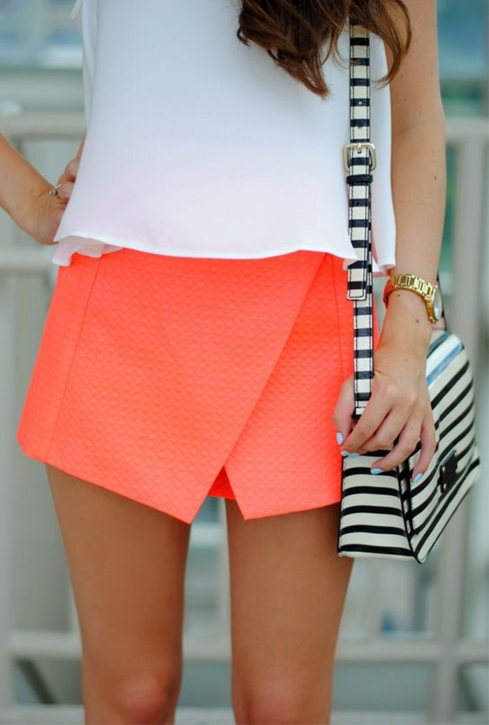 une jupe trapèze de style portefeuille idéale pour une morphologie femme en rectangle