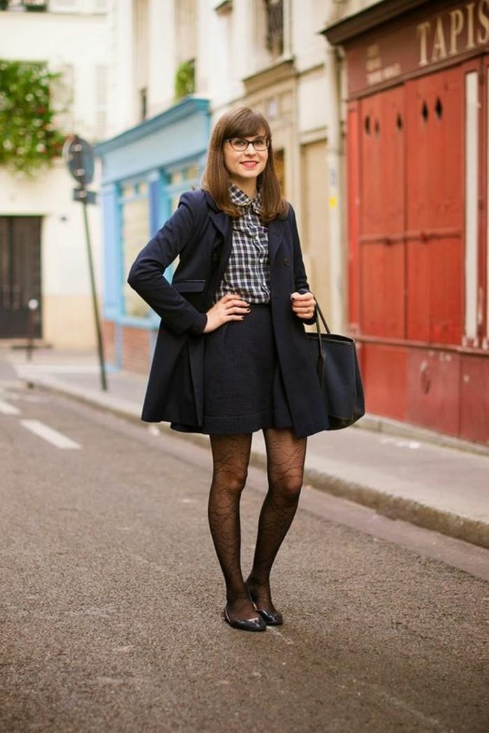 short-et-chemisier-col-claudine-femme-à-carreaux