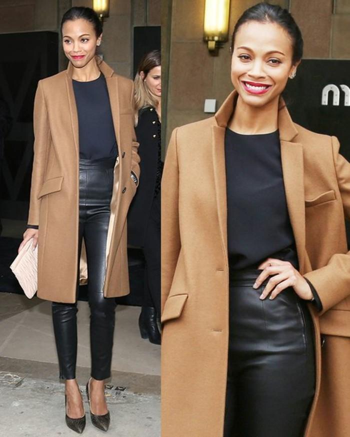 slim-cuir-façon-élégante-manteau-camel-escarpins
