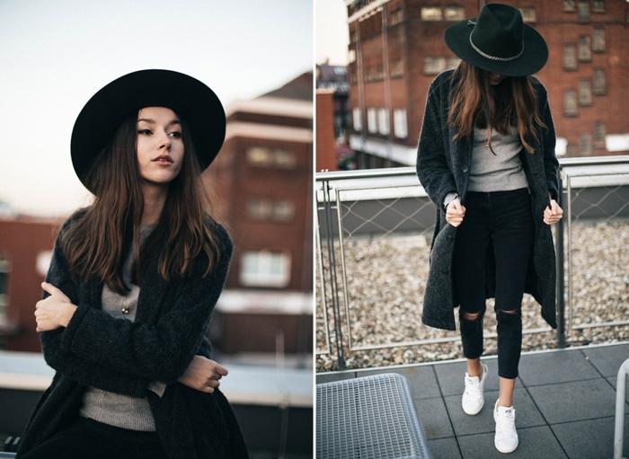 stan smith fille, jeans noirs déchirés, chapeau noir, cheveux bruns, blouse grise, collier anneau