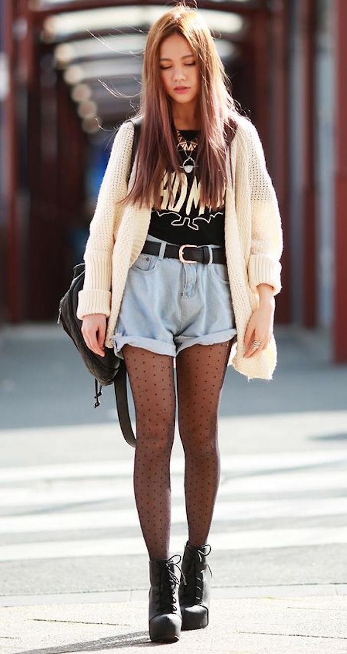 short en jean retro hipster fille grunge années 90