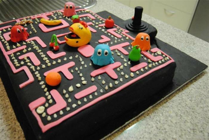 superbe-idée-gateau-anniversaire-facile-préparer-pacman