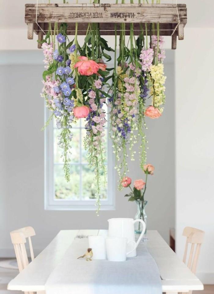 suspension-florale-fleurs-printanières-idée-activité-créative-de-printemps-decor-salle-à-manger-rustique-fleurs