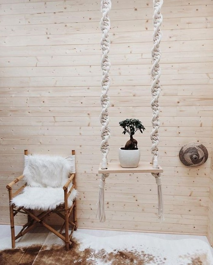 diy macramé, murs en bois, housse en fausse fourrure, noeud macramé, suspension plante