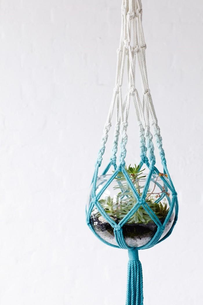macramé tuto, corde beige et blanc, terrarium, suspension plante, diy macramé