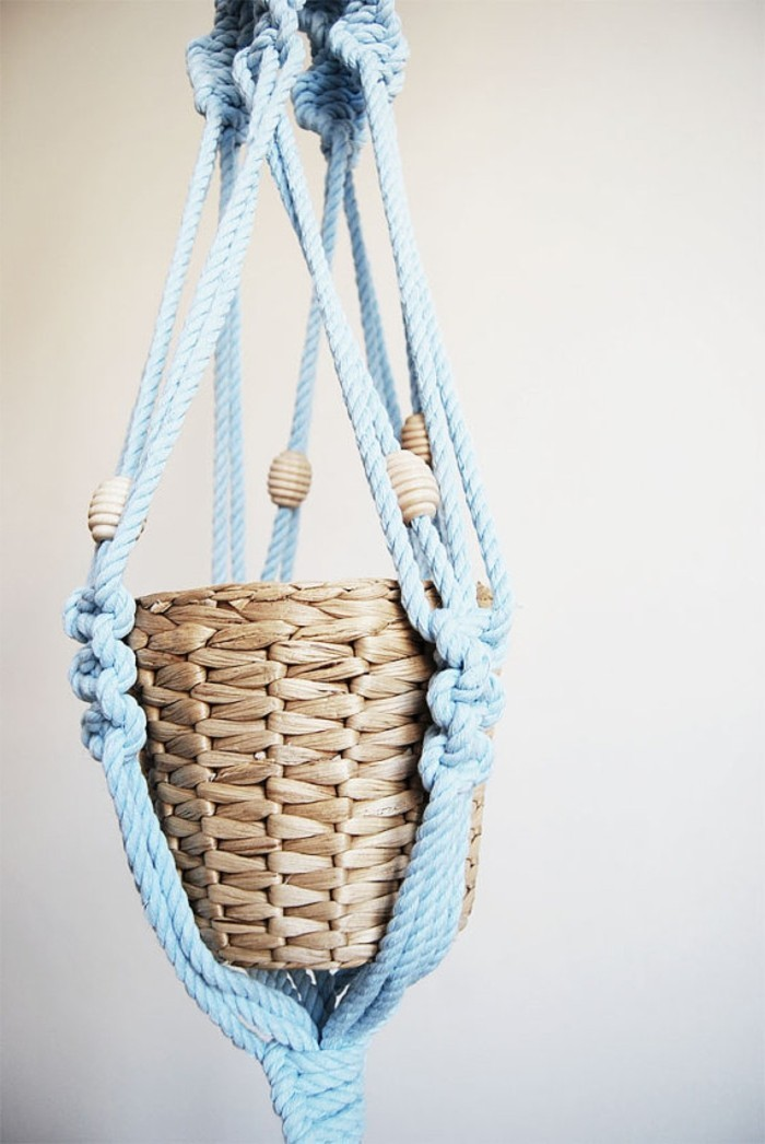 noeud macramé, corde bleu, pot à fleur, suspension plante, diy macramé
