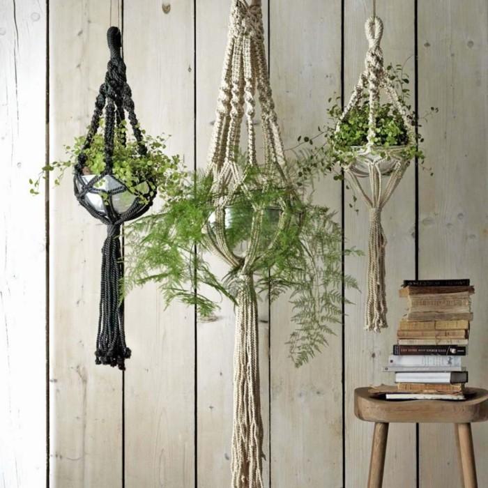 macramé technique, murs en bois, décoration bohème, suspension plante, diy macramé
