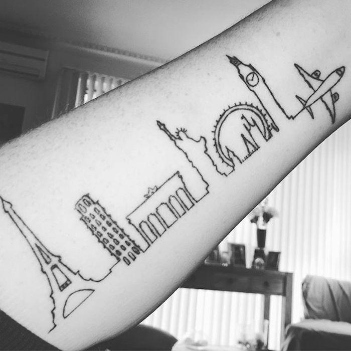 tatouage voyage en ligne d'horizon villes du monde