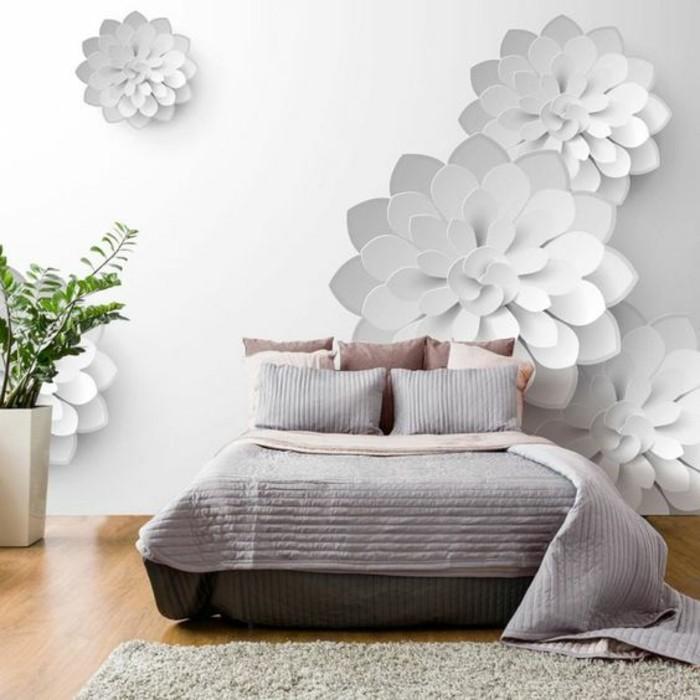 tapisserie-3d-motif-fleur-chambre-à-coucher