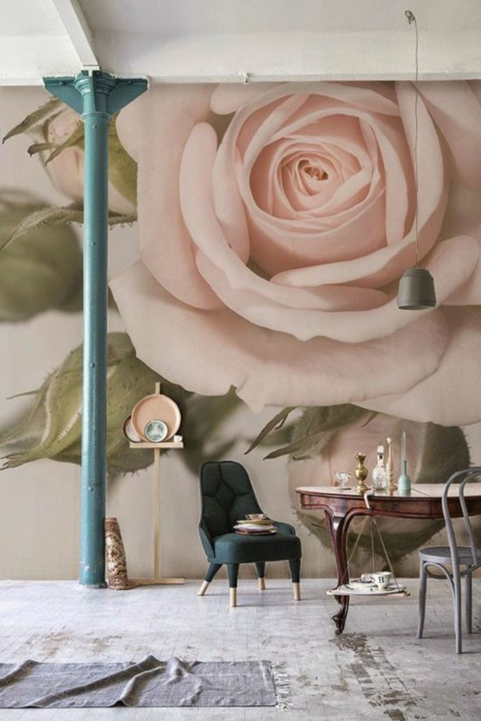 tapisserie-murale-effet-3d-motif-roses