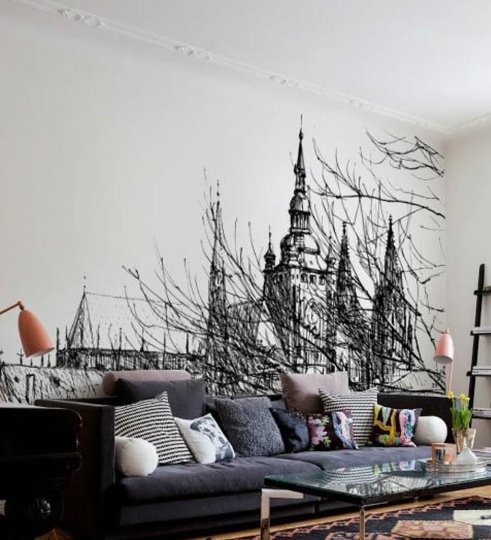 tapisserie-murale-graphique-noir-et-blanc-salon-bohème