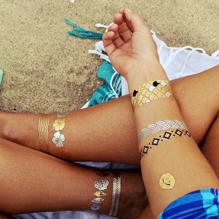 tatoo ecriture tatouage lierre or blanc doré henné temporaire femme