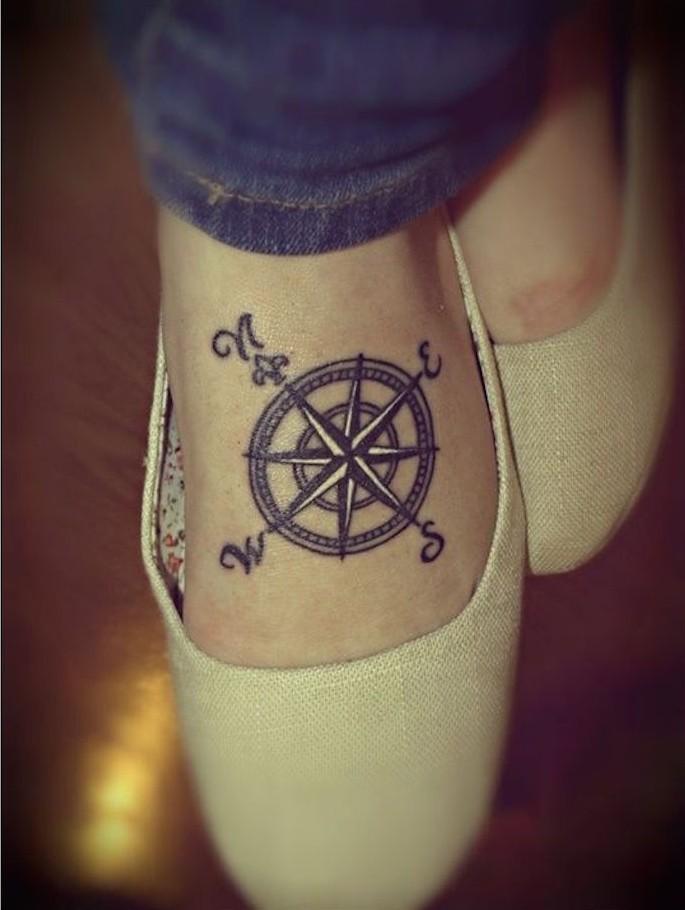 tatouage bousole et tatoo carte du monde comme symbole voyage sur pied