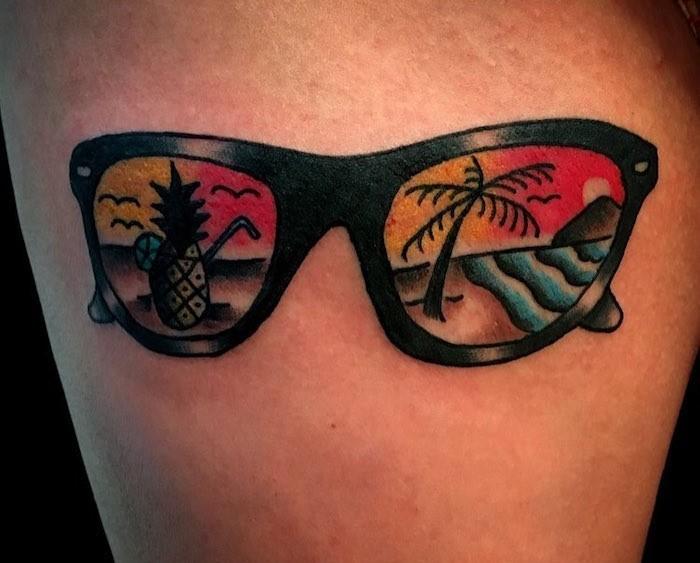 idée tatouage vacances original lunettes soleil