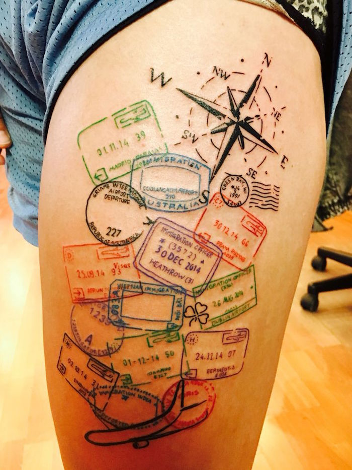 idee tattoo voyage original symbole liberté tatouage tampons passeport