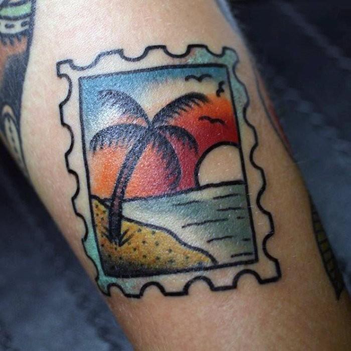 tatouage symbole du voyage original vacances timbre
