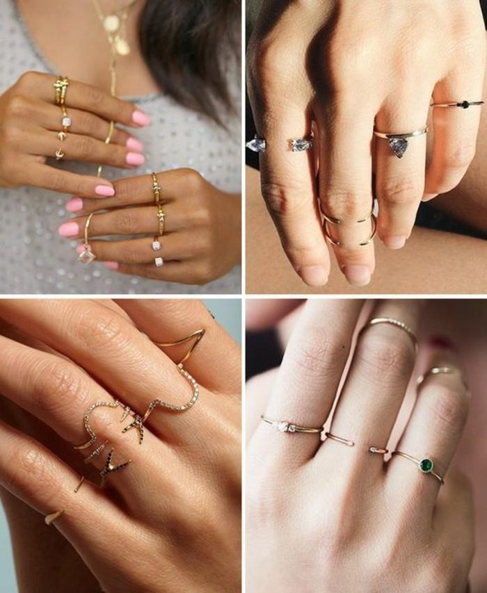 tendance fine bague, comment porter les anneaux de phalange