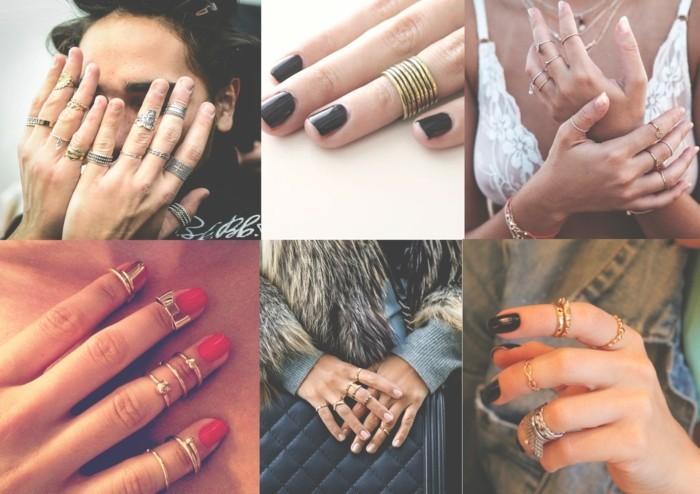 une riche collection de bagues de phalange, comment porter les anneaux demi-doigt