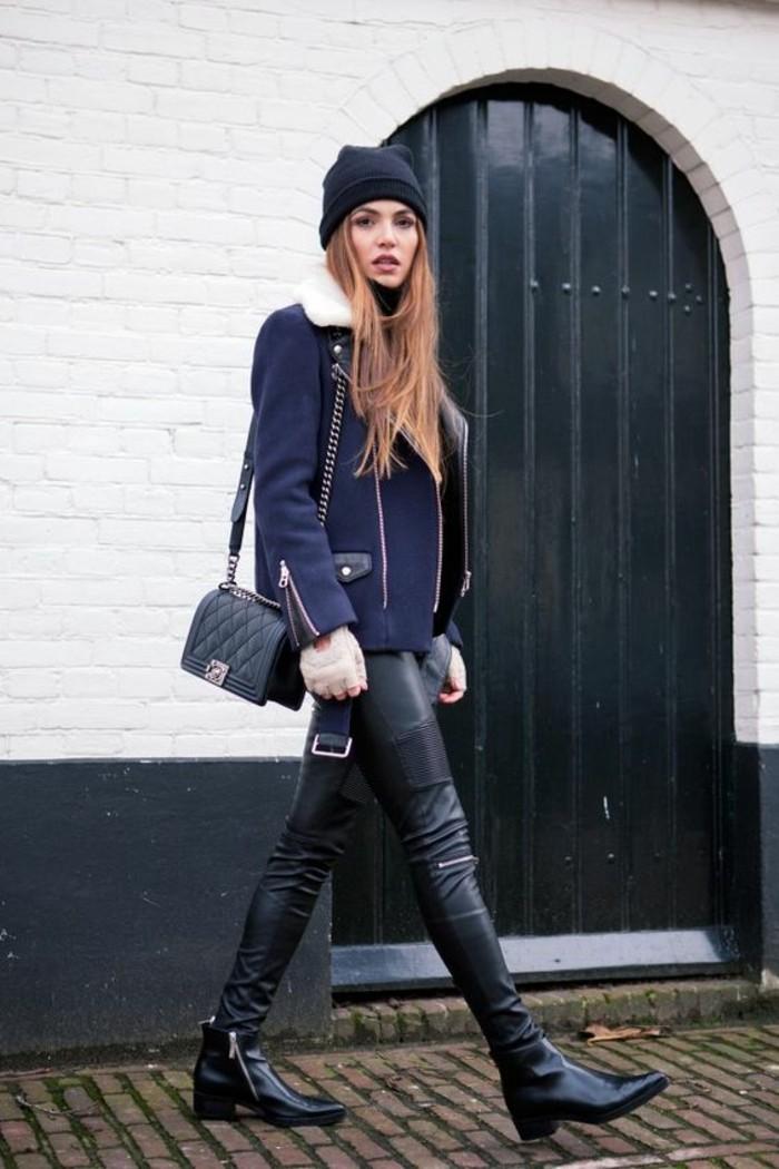 tendance-pantalon-cuir-bottines-noires-veste-aviateur